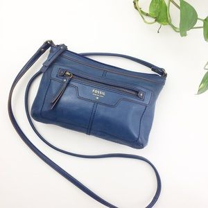 Fossil Blue Leather Crossbody Purse Bag Wallet